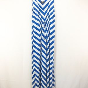Tommy Bahama Blue White Stripe V-neckMaxi Dress